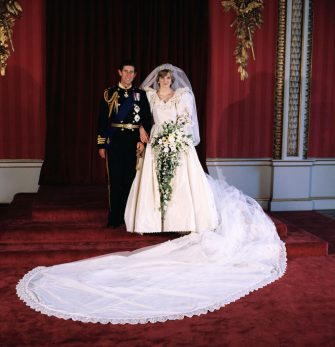 LONDON,UNITED KINGDOM - JULY 29: Diana, Princess of Wales and Prince Charles pose for the official photograph by Lord Lichfield in Buckingham Palace at their wedding on July 29, 1981 in St. Pauls Cathedral, London. (Photo by David Levenson/Getty Images)