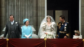 The Prince and Princess of Wales pose on the balcony of Buckingham Palace on their wedding day, 29th July 1981. With them are the Queen and Earl Spencer, Diana's father. (Photo by Terry Fincher/Princess Diana Archive/Getty Images)