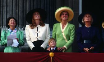 LONDON, UNITED KINGDOM - SEPTEMBER 15:  Princess Margaret, Sarah, Duchess of York, Prince Harry, Diana, Princess of Wales and the Duchess of Kent stand on the balcony of Buckingham Palace to watch The Battle of Britain Anniversary Parade on September 15, 1990 in London, England. (Photo by Anwar Hussein/Getty Images)