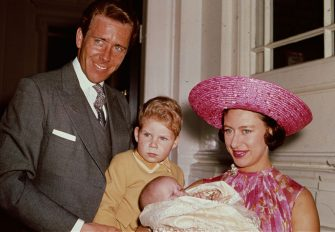 1964:  Princess Margaret (1930 - 2002) with Lord Snowdon and Viscount Linley at Kensington Palace shortly after the birth of her daughter, Lady Sarah Armstrong-Jones. (Photo by Fox Photos/Getty Images)