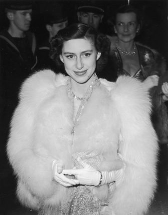 12th April 1951:  HRH Princess Margaret (1930 - 2002) attending the premiere of the film 'Captain Horatio Hornblower' at the Warner Theatre Leicester Square.  (Photo by Ron Burton/Keystone/Getty Images)