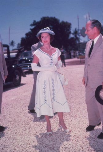 1965:  Princess Margaret Rose (1930 - 2002), younger daughter of King George VI and Queen Elizabeth, on tour in East Africa.  (Photo by Hulton Archive/Getty Images)