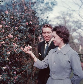 27th February 1960:  Princess Margaret (1930 - 2002) and Antony Armstrong-Jones in the grounds of Royal Lodge on the day they announced their engagement.  (Photo by Hulton Archive/Getty Images)