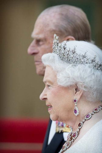 Queen Elizabeth and Prince Philip The Duke of Edinburgh arrive at Schloss Bellevue for an state banquet offered by German President Gauck in Berlin, Germany, 24 June 2015. The British Queen is in Germany for an three day state visit. Photo by: Patrick van Katwijk/picture-alliance/dpa/AP Images