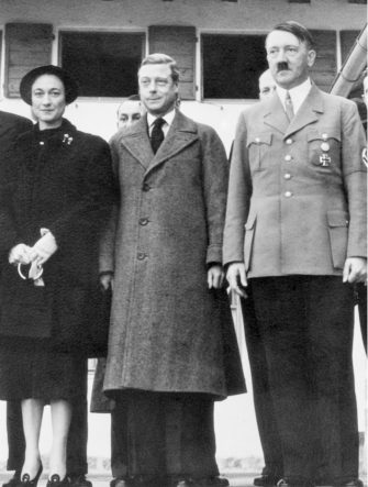 Realm leader Adolf Hitler (R) with the Duke and Duchess of Windsor on the recent occasion when they visited the Bavarian alpine retreat of the German dictator. The visit to Hitler climaxed the Windsors' tour of German industrial and housing projects. This month they will begin a similar tour of the United States.
