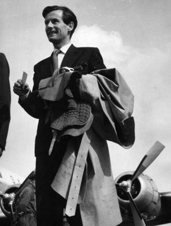 400806 17: (FILE PHOTO) Carrying a saddle, Captain Peter Townsend arrives June 15, 1956 at Malpensa Airport, Milan for the ''Bocconi Trophy''. His name was linked romantically with that of Princess Margarets when he was an equerry to her father George VI, but she was dissuaded from marrying him by the Church and Government in 1955. Buckingham Palace announced that Princess Margaret died peacefully in her sleep at 1:30AM EST at the King Edward VII Hospital February 9, 2002 in London. (Photo by Getty Images)
