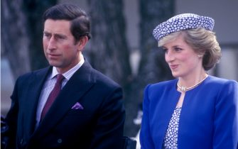 Charles, Prince of Wales, and Diana, Princess of Wales, visit Canada, Diana is wearing a Catherine Walker suit and a hat by Graham Smith at Kangol, City Hall, Prince George, British Columbia, 4th May 1986. (Photo by John Shelley Collection/Avalon/Getty Images)