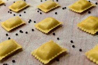 Ravioli pasta are displayed at an exhibitor's stand on May 8, 2019 at the TUTTOFOOD fair, the international B2B show dedicated to food and beverage and organised by Fiera Milano from 6th to 9th may 2019 in Milan. (Photo by Miguel MEDINA / AFP)        (Photo credit should read MIGUEL MEDINA/AFP via Getty Images)