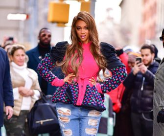 NEW YORK, NY - NOVEMBER 29:  Tyra Banks leaves 'Build' at Build Studios on November 29, 2018 in New York City.  (Photo by James Devaney/GC Images)