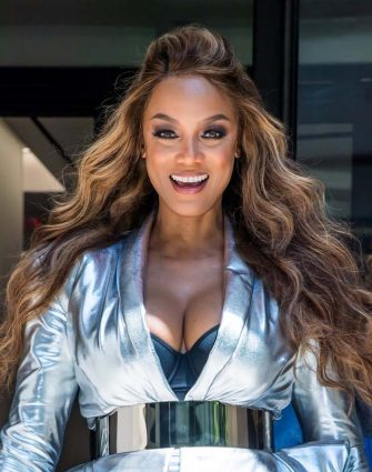 NEW YORK, NY - MAY 08:  2019 Sports Illustrated Swimsuit Cover Model Tyra Banks is seen leaving BuzzFeed on May 08, 2019 in New York City.  (Photo by Gilbert Carrasquillo/GC Images)