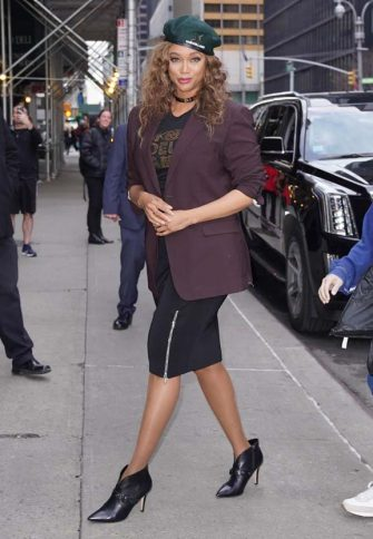 NEW YORK, NY - FEBRUARY 24:  Tyra Banks is seen on February 24, 2020 in New York City.  (Photo by JNI/Star Max/GC Images)