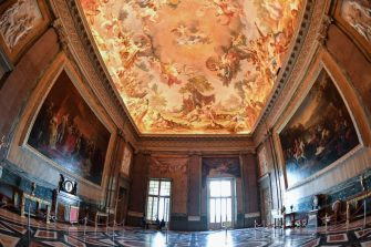 A view of one of the rooms of the royal apartments called the Hall of Alexander at Reggia di Caserta, a UNESCO world heritage site and one of the great Royal Palaces of Europe, during a preview of the Spring/Summer 2020 collection by Stefano Ricci, Italy's iconic Florence-based fashion house, in Caserta near Naples, on May 21, 2019. - Italian luxury designer Stefano Ricci and his sons are playing at being kings for the day as they unveil their latest collection at the sumptuous Reggia di Caserta near Naples. (Photo by Andreas SOLARO / AFP)        (Photo credit should read ANDREAS SOLARO/AFP via Getty Images)