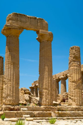 SICILY, ITALY:  Doric style stone columns of the Temple of Juno ( Hera ) in the Valley of the Temples, Agrigento, Sicily, Italy.. (Photo by Tim Graham/Getty Images)