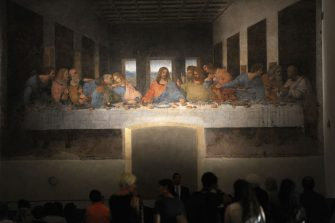 MILAN, ITALY - JUNE 18:  The painting 'The Last Supper' is displayed at the Museo del Cenacolo Vinciano during the Leonardo Da Vinci Prime Idee Per l'Ultima Cena' Exhibition press preview at Cenacolo Vinciano Mesueum on June 18, 2018 in Milan, Italy.  (Photo by Pier Marco Tacca/Getty Images)