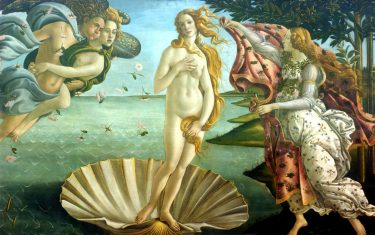 "FLORENCE, ITALY - MARCH 9:  A detail of ""Birth of Venus"" by painter Sandro Botticelli is shown at the Uffizi Gallery March 9, 2004 in Florence, Italy. Florence is on the eve of the most important exhibition of the painter Sandro Botticelli, which will open March 11 at Palazzo Strozzi.  (Photo by Franco Origlia/Getty Images)"