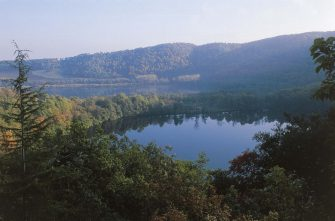 View of the lakes of Monticchio, Rionero in Vulture, Basilicata, Italy.