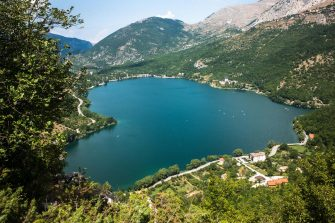 Lago di Scanno is a lake in the Province of L'Aquila, Abruzzo, Italy. It is located in the Appennino Abruzzese north of Parco Nazionale d'Abruzzo, Lazio e Molise. On its southern shore is Scanno and on its northern shore is Villalago. The Sagittario flows out of the lake towards the north. The part of the Sagittario river that flows into the lake from the south is known as the Tasso. Italy, on August 26 2019 (Photo by Mairo Cinquetti/NurPhoto via Getty Images)