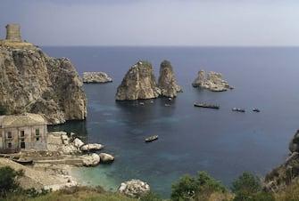 Tuna fishery and sea stacks in Scopello, Sicily, Italy.