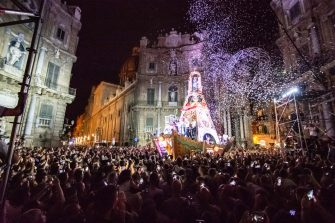 On July 14, 2019 Palermo celebrated the patron saint of the city, Santa Rosalia. History says that in 1625 the Saint saved Palermo from the plague. Every year the festivities begin on 8 July and end on 15 July.On 14 July there is a party, with theatrical and musical performances and where all the civil and religious authorities participate, along with all of Palermo. (Photo by Francesco Militello Mirto/NurPhoto via Getty Images)