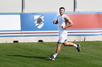 U.C. Sampdoria's player Karol Linetty during a training session on a voluntary basis at the Sports Centre Gloriano Mugnaini, Bogliasco, near Genoa, 07 May 2020. ANSA/LUCA ZENNARO