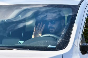 Juventus' Italian defender Leonardo Bonucci arrives in his car to attend a training session on May 18, 2020 at the Continassa training ground in Turin during the country's lockdown aimed at curbing the spread of the COVID-19 infection, caused by the novel coronavirus. (Photo by Marco Bertorello / AFP) (Photo by MARCO BERTORELLO/AFP via Getty Images)