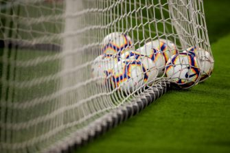 TURIN, ITALY - SEPTEMBER 26: Serie A Nike Merlin match balls are seen in the goal net prior to the Serie A match between Juventus and Bologna FC at Allianz Stadium on September 26, 2018 in Turin, Italy. (Photo by Robbie Jay Barratt - AMA/Getty Images)