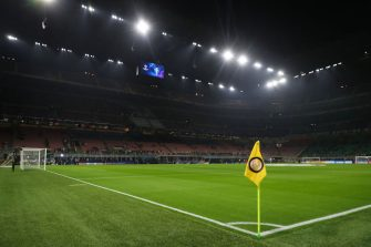 MILAN, ITALY - OCTOBER 23: A corner flag bearing the crest of FC Internazionale in the Giuseppe Meazza Stadium  home stadium of FC Internazionale during the UEFA Champions League group F match between FC Internazionale and Borussia Dortmund at Giuseppe Meazza Stadium on October 23, 2019 in Milan, Italy. (Photo by Matthew Ashton - AMA/Getty Images)