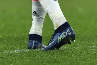 ROME, ITALY - JANUARY 12:  A detailed view of the Nike shoes worn by Cristiano Ronaldo of Juventus FC  during the Serie A match between AS Roma and Juventus FC at Stadio Olimpico on January 12, 2020 in Rome, Italy.  (Photo by Giuseppe Bellini/Getty Images)