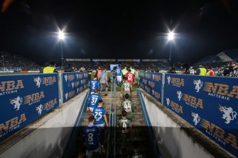 BRESCIA, ITALY - FEBRUARY 21: Players and officials etner the field of play from the dressing rooms for the Serie A match between Brescia Calcio and  SSC Napoli at Stadio Mario Rigamonti on February 21, 2020 in Brescia, Italy. (Photo by Jonathan Moscrop/Getty Images)