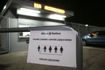 TURIN, ITALY - MARCH 08: A sign indicating safe distances between people outside the stadium media entrance before the Serie A match between Juventus and  FC Internazionale at Allianz Stadium on March 08, 2020 in Turin, Italy. (Photo by Jonathan Moscrop/Getty Images)