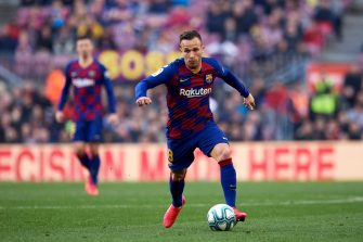 BARCELONA, SPAIN - FEBRUARY 22: Arthur Melo of FC Barcelona runs with the ball during the La Liga match between FC Barcelona and SD Eibar SAD at Camp Nou on February 22, 2020 in Barcelona, Spain. (Photo by Alex Caparros/Getty Images)