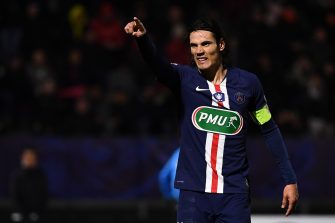 Paris Saint-Germain's Uruguayan forward Edinson Cavani celebrates after scoring a goal during the French Cup football match between Linas-Montlhery and Paris Saint-Germain on January 5, 2020 at the Stade Bobin in Bondoufle, south of Paris. (Photo by Anne-Christine POUJOULAT / AFP) (Photo by ANNE-CHRISTINE POUJOULAT/AFP via Getty Images)