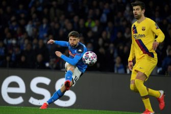 TOPSHOT - Napoli's Belgian forward Dries Mertens shoots the ball  during the UEFA Champions League round of 16 first-leg football match between SSC Napoli and FC Barcelona at the San Paolo Stadium in Naples on February 25, 2020. (Photo by Filippo MONTEFORTE / AFP) (Photo by FILIPPO MONTEFORTE/AFP via Getty Images)