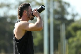 PERTH, AUSTRALIA - MAY 08: Jake Waterman of the Eagles takes a drink break while training with Hamish Brayshaw at the UWA Sports Park on May 08, 2020 in Perth, Australia. (Photo by Paul Kane/Getty Images)