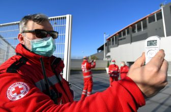UDINE, ITALY - MARCH 08:  An operator performs anti-coronavirus checks before the Serie A match between Udinese Calcio and  ACF Fiorentina at Stadio Friuli on March 08, 2020 in Udine, Italy.  (Photo by Alessandro Sabattini/Getty Images)