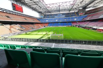 MILAN, ITALY - MARCH 08:  General view of the empty stadium according to the rules to limit the spread of Covid-19 during the Serie A match between AC Milan and Genoa CFC at Stadio Giuseppe Meazza on March 8, 2020 in Milan, Italy.  (Photo by Marco Luzzani/Getty Images)