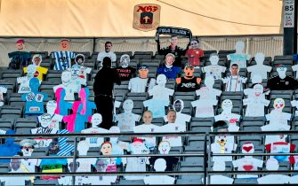 Cardboard cut-out of fans are seen in the stands during the 3F Super League football match between AGF and Randers FC at Ceres Park in Aarhus, Denmark, on May 28, 2020, as the season resumed following a two-month absence due to the novel coronavirus COVID-19 pandemic. (Photo by Henning Bagger / Ritzau Scanpix / AFP) / Denmark OUT (Photo by HENNING BAGGER/Ritzau Scanpix/AFP via Getty Images)