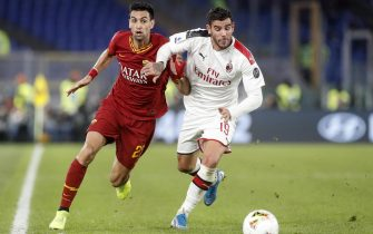 Romas Javier Pastore (L) in action against Milans Theo Hernandez (R) during the Serie A soccer match between AS Roma and AC Milan at the Olimpico stadium in Rome, Italy, 27 October 2019. ANSA/RICCARDO ANTIMIANI