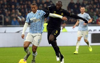 Spa'ls Igor  (L) challenges for the ball  Inter Milan's Romelu Lukaku during the Italian serie A soccer match  Fc Inter and Spal at Giuseppe Meazza stadium in Milan 1 December  2019. ANSA / MATTEO BAZZI