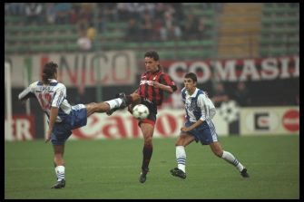 11 Sep 1996:  Roberto Baggio of A.C Milan (right) challenges Lula of Porto during the European champions league match between A.C Milan and F.C Porto at the San Siro Staium in Milan, Italy. FC Porto went on to win the game by 2-3. Mandatory Credit: MikeHewitt/Allsport