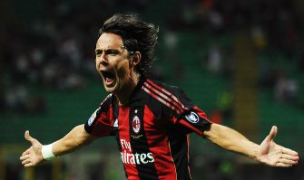 MILAN, ITALY - AUGUST 29:  Filippo Inzaghi of AC Milan celebrates his goal during the Serie A match between AC Milan and US Lecce at Stadio Giuseppe Meazza on August 29, 2010 in Milan, Italy.  (Photo by Valerio Pennicino/Getty Images)