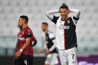 TURIN, ITALY - JUNE 12:  Cristiano Ronaldo of Juventus reacts during the Coppa Italia Semi-Final Second Leg match between Juventus and AC Milan at Allianz Stadium on June 12, 2020 in Turin, Italy.  (Photo by Valerio Pennicino/Getty Images)