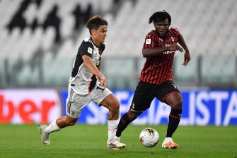 TURIN, ITALY - JUNE 12:  Paulo Dybala (L) of Juventus in action against Franck Kessie of AC Milan during the Coppa Italia Semi-Final Second Leg match between Juventus and AC Milan at Allianz Stadium on June 12, 2020 in Turin, Italy.  (Photo by Valerio Pennicino/Getty Images)
