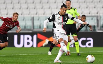 TURIN, ITALY - JUNE 12:  Cristiano Ronaldo of Juventus takes a penalty kick and misses during the Coppa Italia Semi-Final Second Leg match between Juventus and AC Milan at Allianz Stadium on June 12, 2020 in Turin, Italy.  (Photo by Valerio Pennicino/Getty Images)