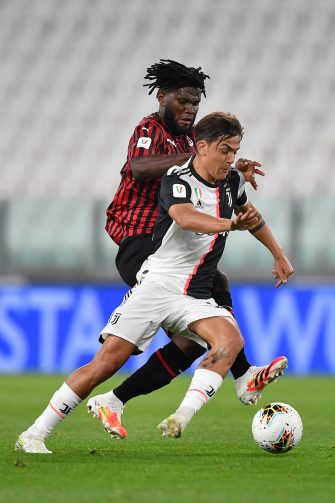 TURIN, ITALY - JUNE 12:  Paulo Dybala (R) of Juventus is challenged by Franck Kessie of AC Milan during the Coppa Italia Semi-Final Second Leg match between Juventus and AC Milan at Allianz Stadium on June 12, 2020 in Turin, Italy.  (Photo by Valerio Pennicino/Getty Images)