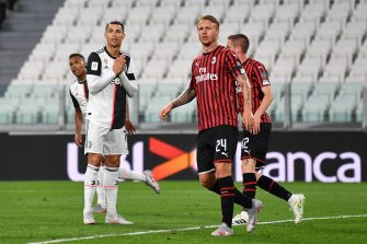 TURIN, ITALY - JUNE 12:  Cristiano Ronaldo of Juventus shows his dejection after missing a penalty kick during the Coppa Italia Semi-Final Second Leg match between Juventus and AC Milan at Allianz Stadium on June 12, 2020 in Turin, Italy.  (Photo by Valerio Pennicino/Getty Images)