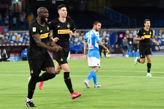 Inter's Romelu Lukaku celebrates after his teammate Christian Eriksen scored the goal during the Italy Cup semifinal second leg soccer match SSC Napoli vs FC Inter at the San Paolo stadium in Naples, Italy, 13 June 2020. ANSA/CIRO FUSCO