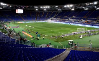 ROME, ITALY - FEBRUARY 16: A general view of empty stands empty during the the Serie A match between AS Roma and UC Sampdoria at Stadio Olimpico on February 16, 2014 in Rome, Italy. The Curva Nord and Curva Sud sections of the Stadio Olimpico were temporarily closed, following their Tim Cup fixture, after fans aimed 'territorially discriminatory' chants towards Napoli supporters.  (Photo by Paolo Bruno/Getty Images)