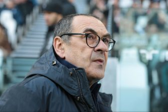 TURIN, ITALY - FEBRUARY 02: (BILD ZEITUNG OUT) head coach Maurizio Sarri of Juventus looks on prior to the Serie A match between Juventus and ACF Fiorentina at Allianz Stadium on February 02, 2020 in Turin, Italy.  (Photo by TF-Images/Getty Images)
