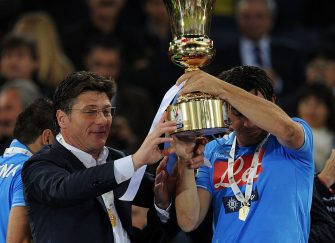 ROME, ITALY - MAY 20:  Walter Mazzarri head coach of Napoli celebrates victory after the Tim Cup final match between Juventus FC and SSC Napoli at Olimpico Stadium on May 20, 2012 in Rome, Italy.  (Photo by Giuseppe Bellini/Getty Images)